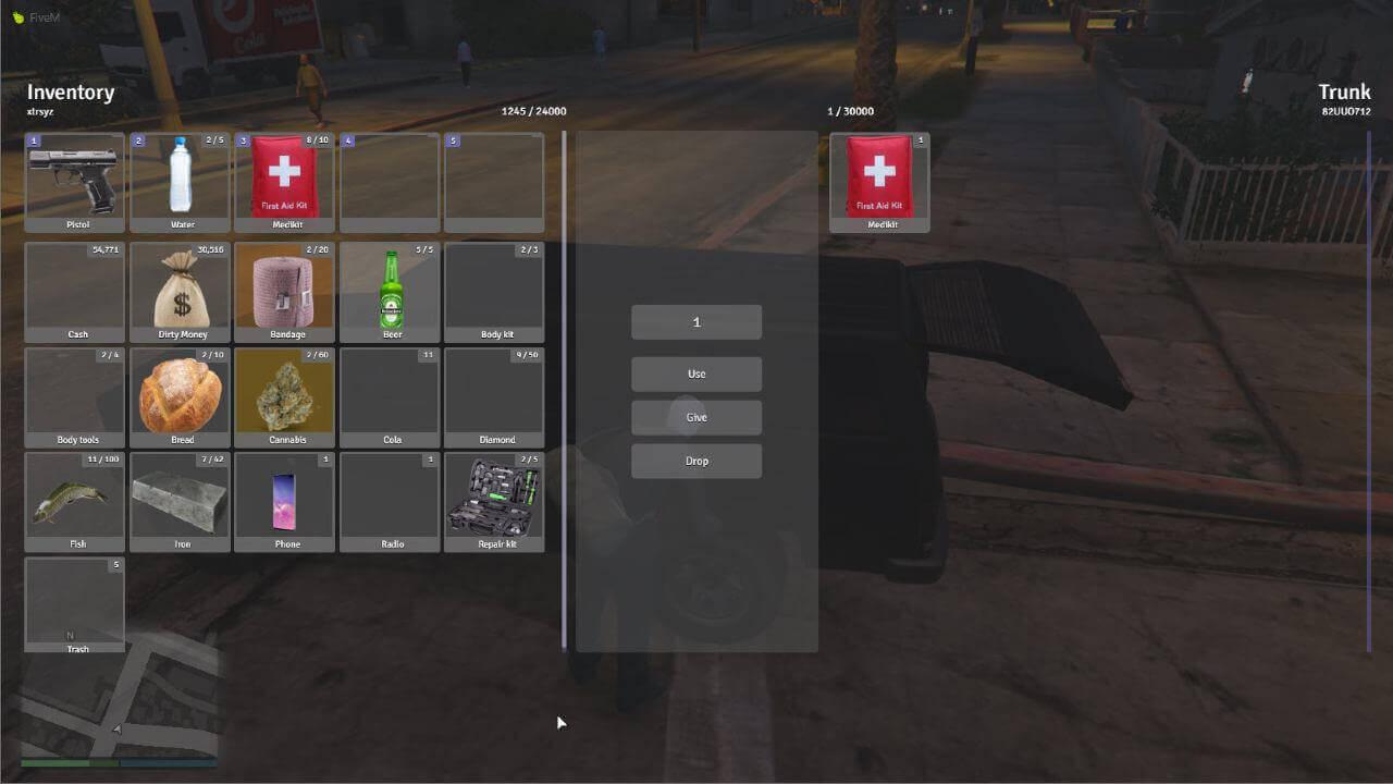 custom ESX inventory for FiveM RP